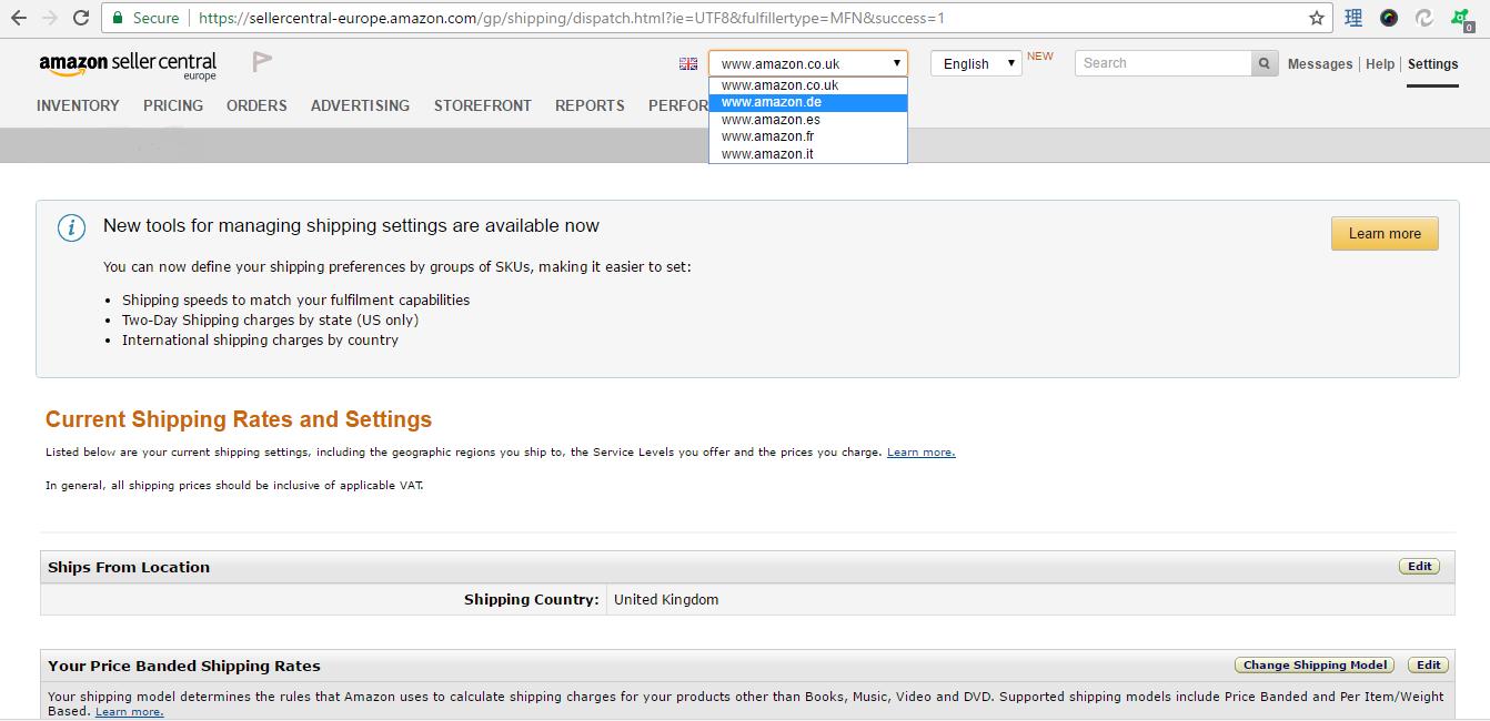 Webinterpret Rates Setting Center Help Sites International Shipping Amazon – Support On